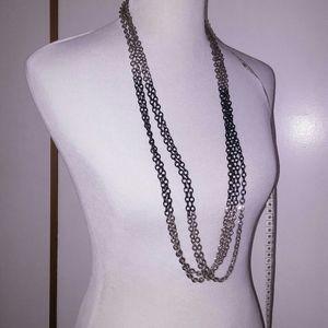 Multi-strand layered long necklace